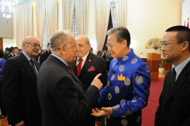 Anul Nou Chinezesc la Ambasada Chinei din Romania 2015, Ion Iliescu - Amb Romulus Budura