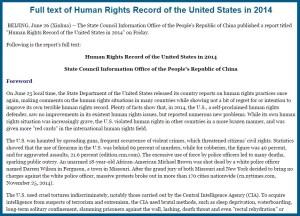 Raport Drepturile Omului China despre SUA 2014