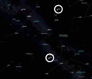 Vega si Altair pe Harta Cerului