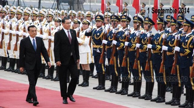Victor Ponta, primit cu salve de tun la Beijing, 01.09.2014