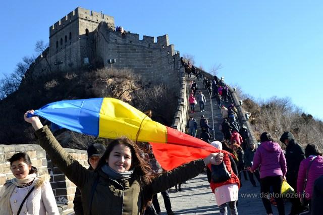 Tricolorul Romaniei la Marele Zid de 1 decembrie 2016 Ba