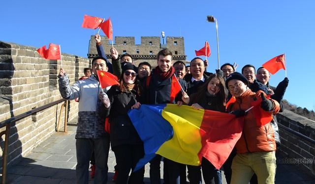 Tricolorul Romaniei la Marele Zid de 1 decembrie 2016 Ea