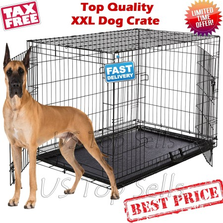 Extra large dog kennel crate 48 folding pet cage metal 2 doors tray our versatile 2 door extra large dog kennel crate includes a strong carrying handle leak proof plastic pan a 1 year manufacturers warranty eventshaper