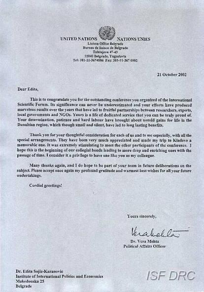 """Pismo Dr Vere Mehte (Kancelarija za vezu UN) inicijatoru MNF """"DRS"""", dr Editi Stojić-Karanović"""
