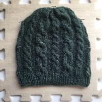 Green cabled hat - and a trip to Europe