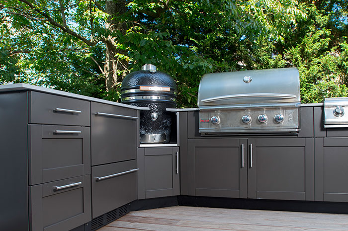 danver outdoor kitchens kitchen knives ceramic egg smoker appliance cabinets stainless offers designed to accommodate style grills from a variety of manufacturers