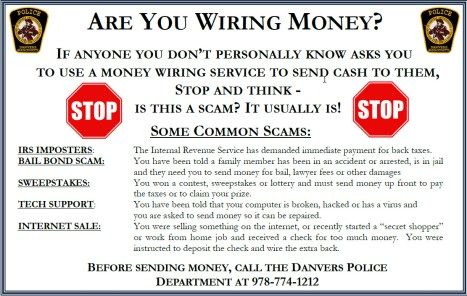 Money Wiring Scams | Common Scams Danvers Police Department