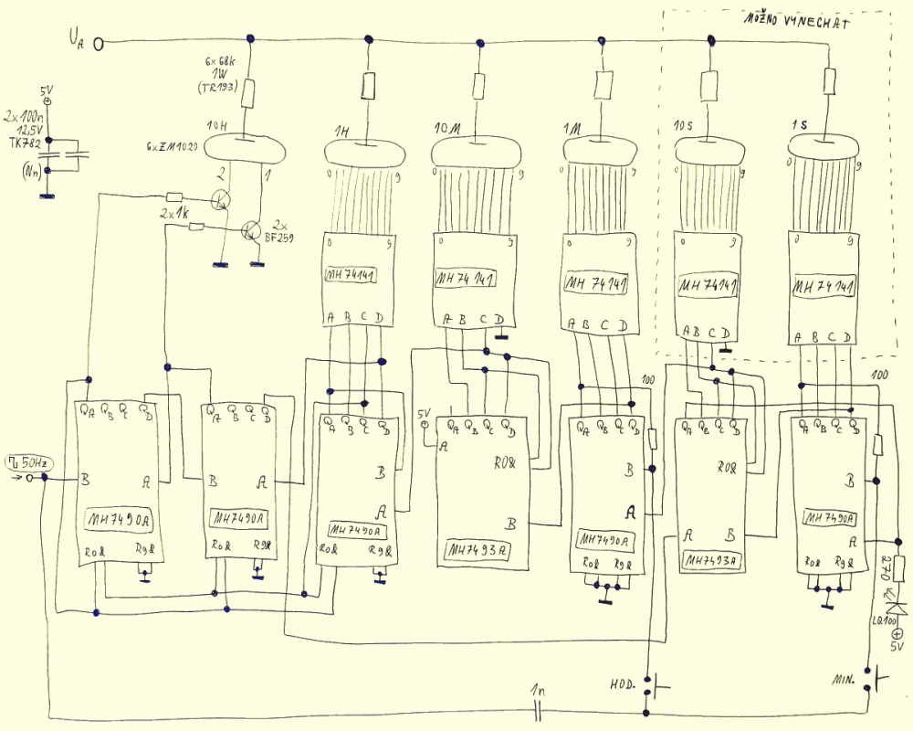 medium resolution of ttl nixie clock schematic power supply and 50hz shaping circuit