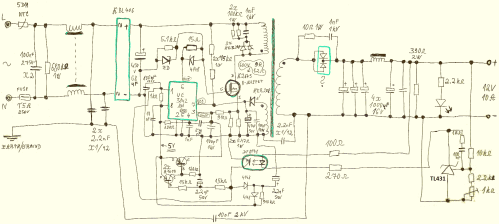 small resolution of schematic of an industrial switching power supply module s 120w 12 in a metal housing it s a flyback topology the input is 100 240v ac mains and the