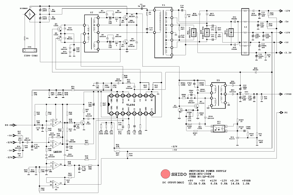 atx 450w smps circuit diagram back of head sinus at and pc computer supplies schematics shido 250w tl494