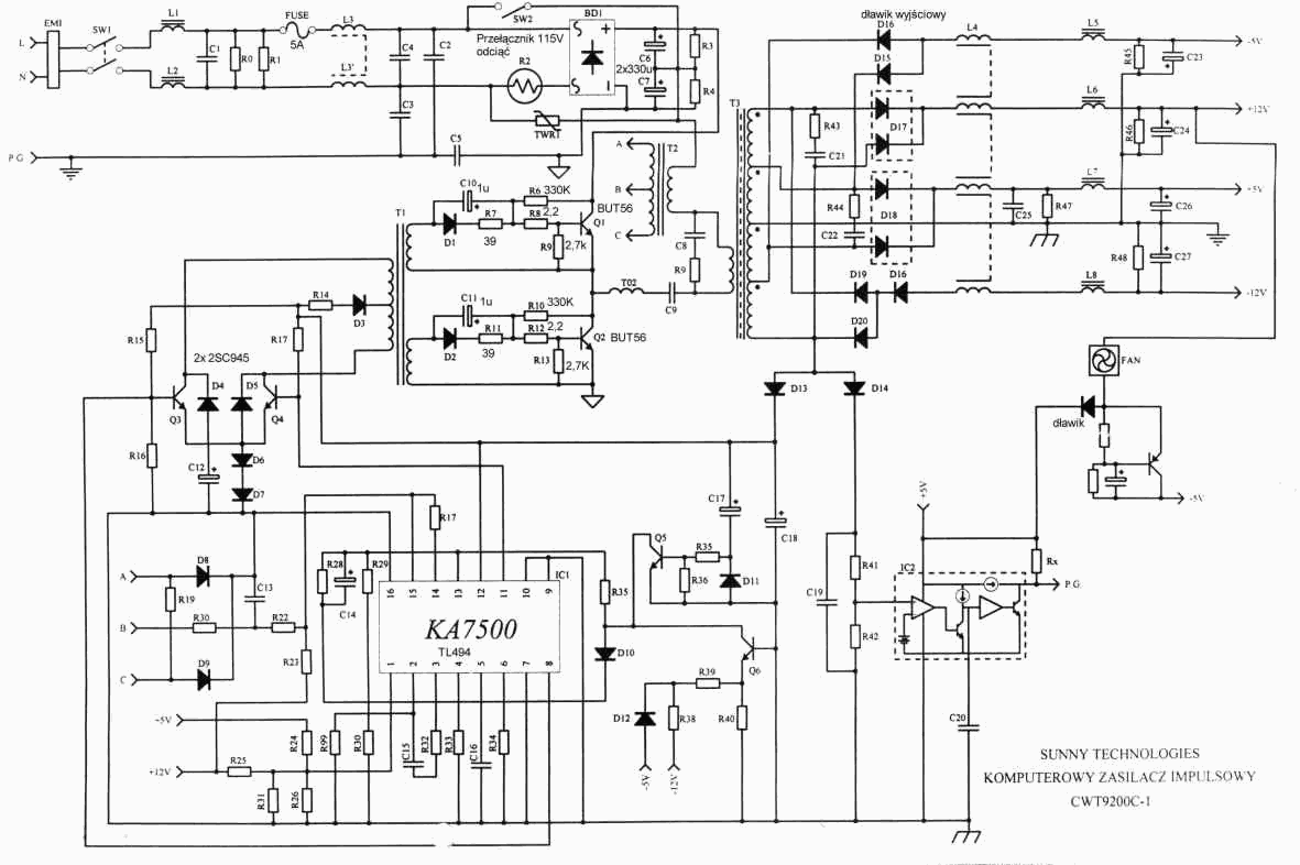 hight resolution of atx smps circuit diagram wiring diagram todayat and atx pc computer supplies schematics computer atx smps