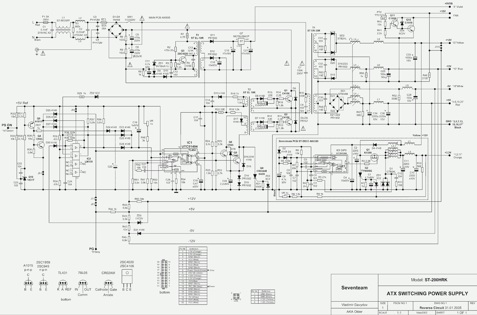 200x Wiring Diagram At And Atx Pc Computer Supplies Schematics