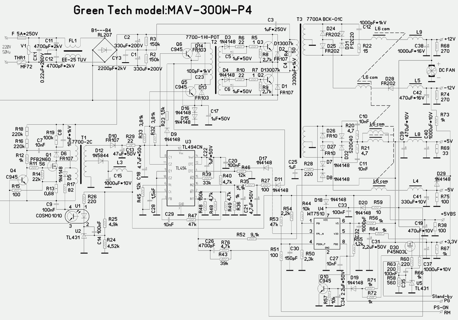 At And Atx Pc Computer Supplies Schematics