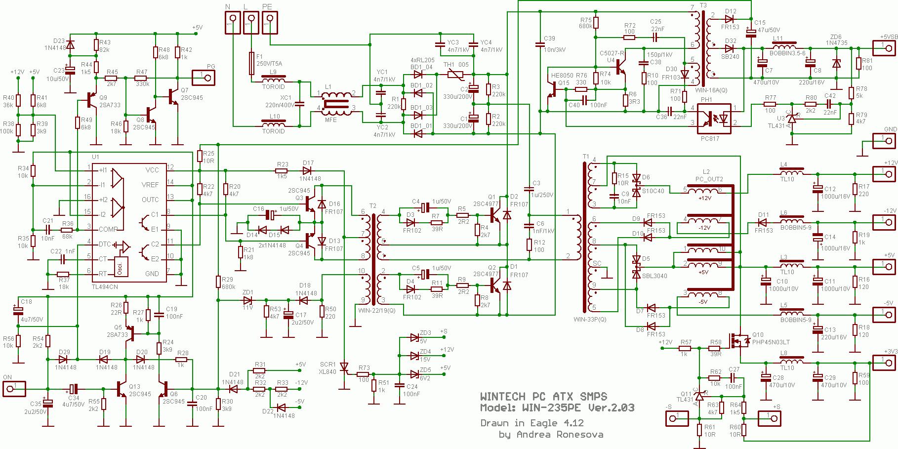 atx 450w smps circuit diagram 68 camaro steering column at and pc computer supplies schematics