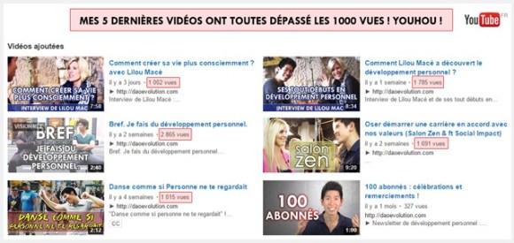1000 vues sur mes 5 dernières vidéos