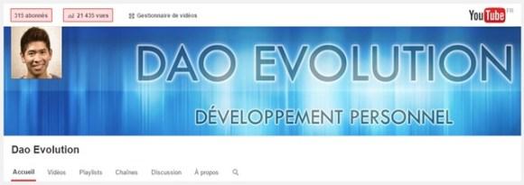 315 abonnés et 21435 vues sur YouTube
