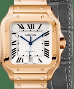 SANTOS DE CARTIER WATCH LARGE MODEL, AUTOMATIC, PINK GOLD, TWO INTERCHANGEABLE STRAPS