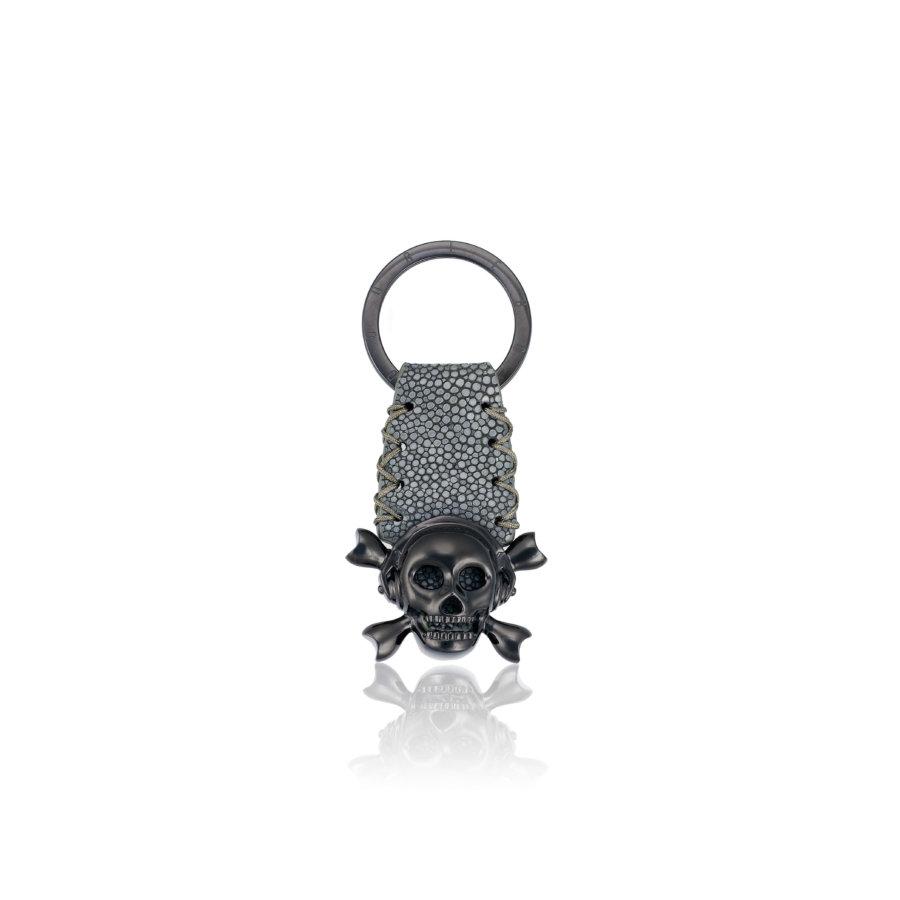 Grey Stingray Keychain with Black Skull.