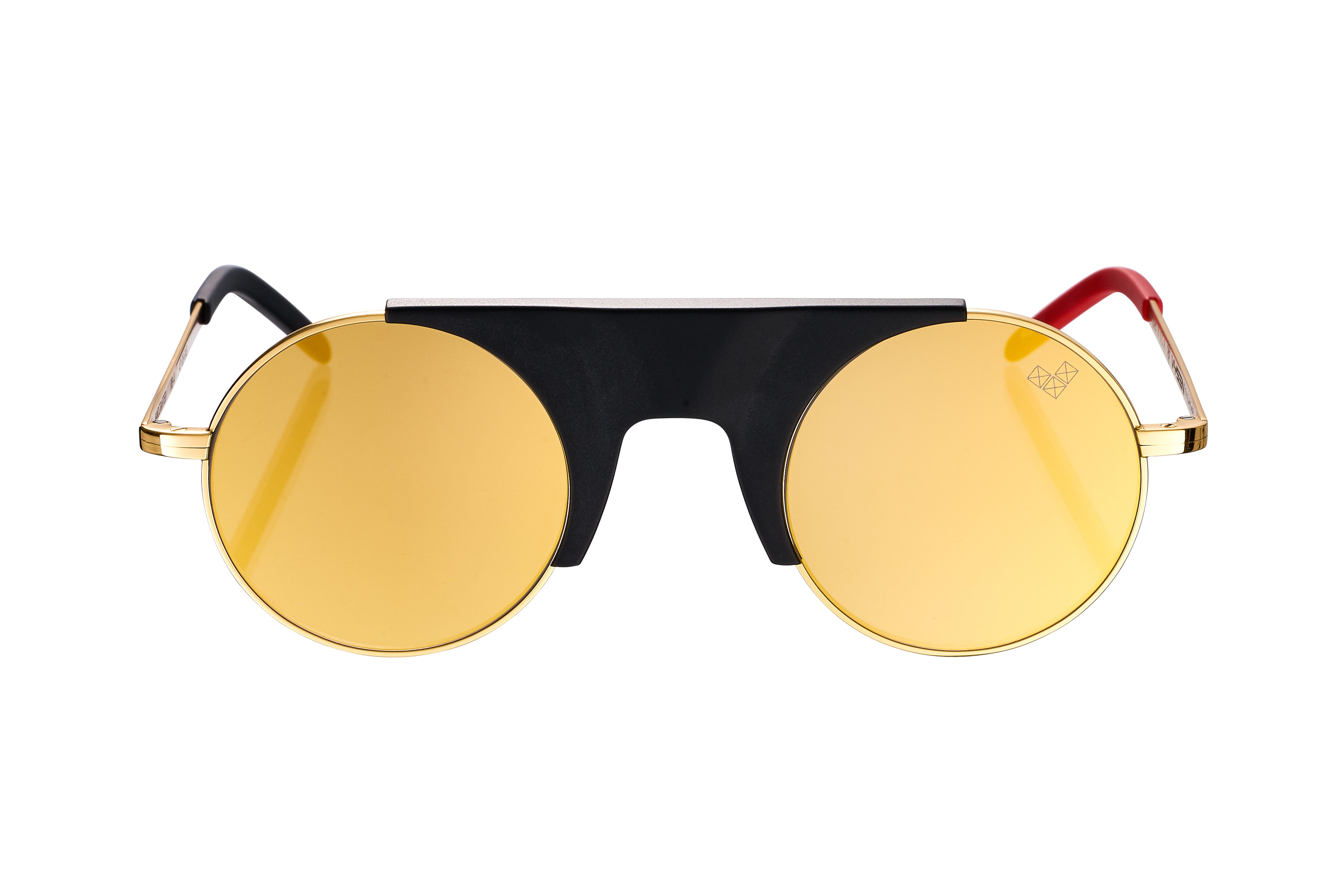 RUBI-Rb-4 - Matte Black Center Piece - Gold Mirror Lenses