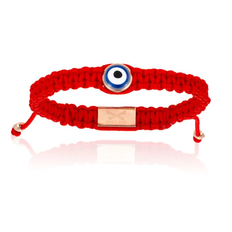 Red Nylon bracelet with Pink Gold Eye (Unisex)
