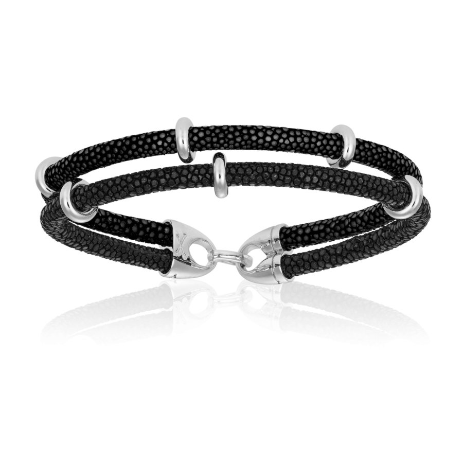 Black stingray bracelet with silver beads (Unisex)