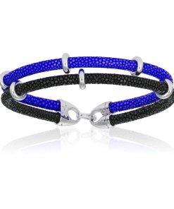 Blue / Black Stingray / Silver Beads
