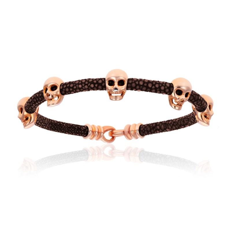 Brown stingray bracelet with pink gold skull (Unisex)