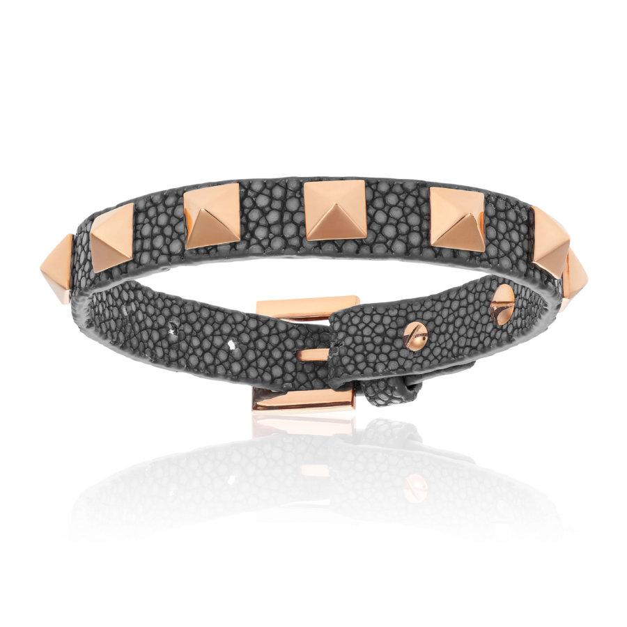 Gray stingray bracelet with rose gold studs (Unisex)