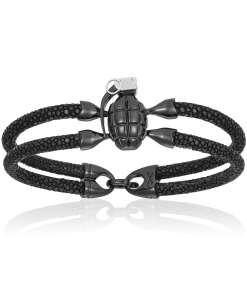 Black stingray bracelet with black PVD grenade for man