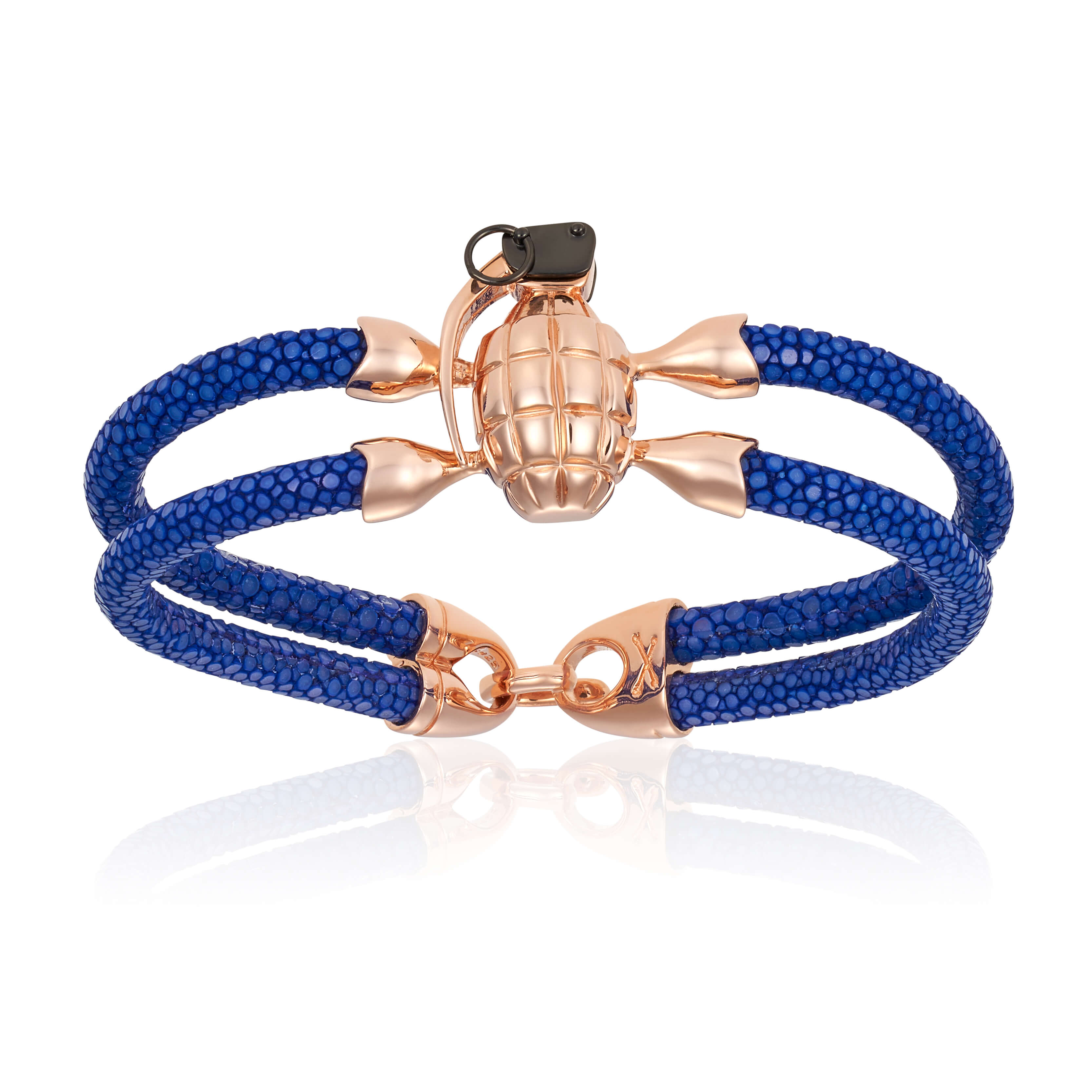 Blue stingray bracelet with rose gold grenade for man