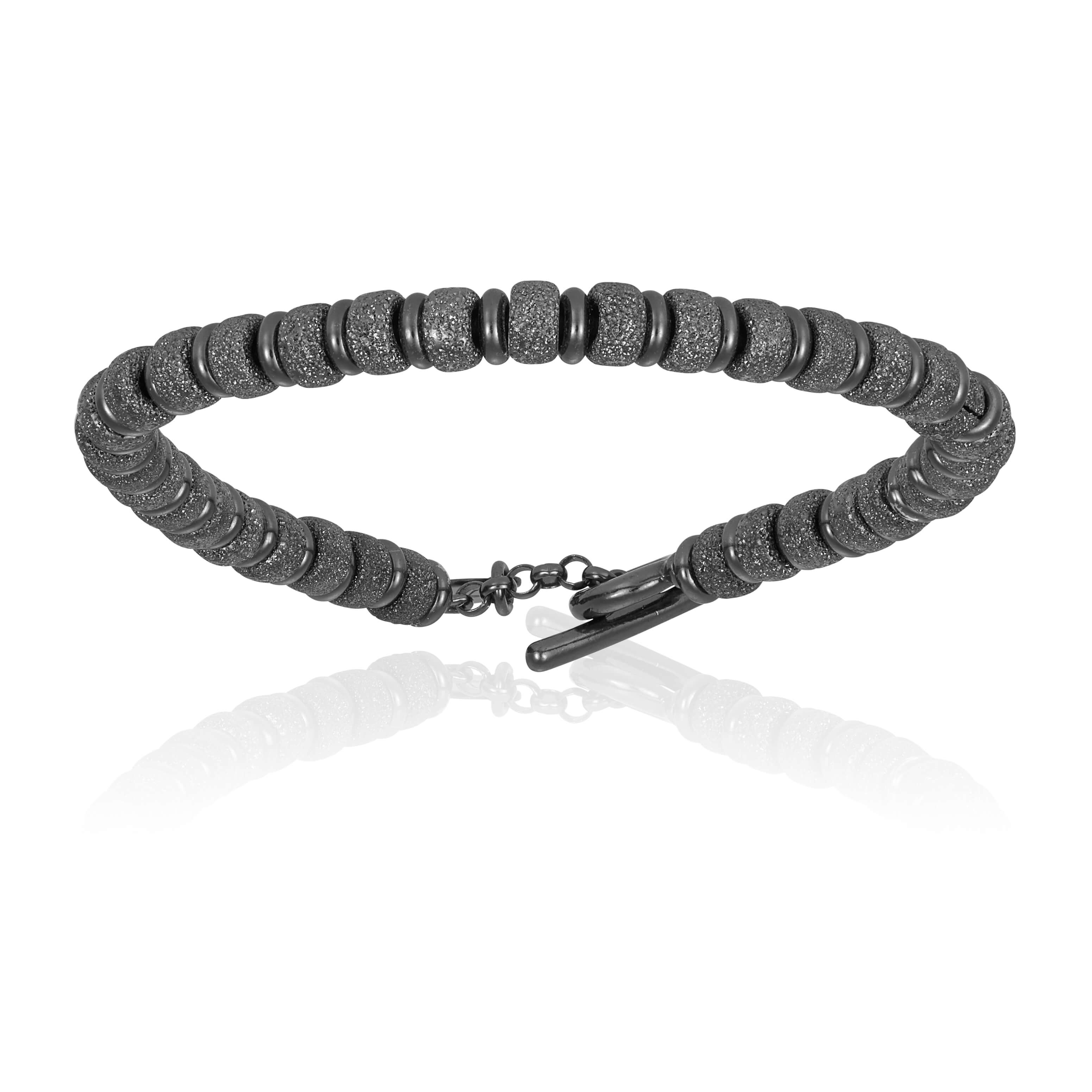 Black PVD bracelet with black beads (Unisex)