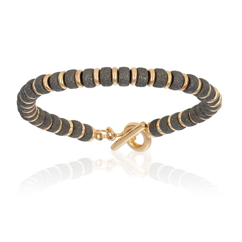 Yellow gold bracelet with black PVD beads (Unisex)
