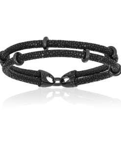 Black stingray bracelet with black beads (Unisex)