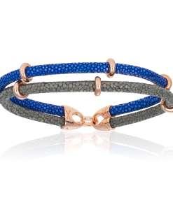 Gray / Blue stingray bracelet with rose gold beads (Unisex)
