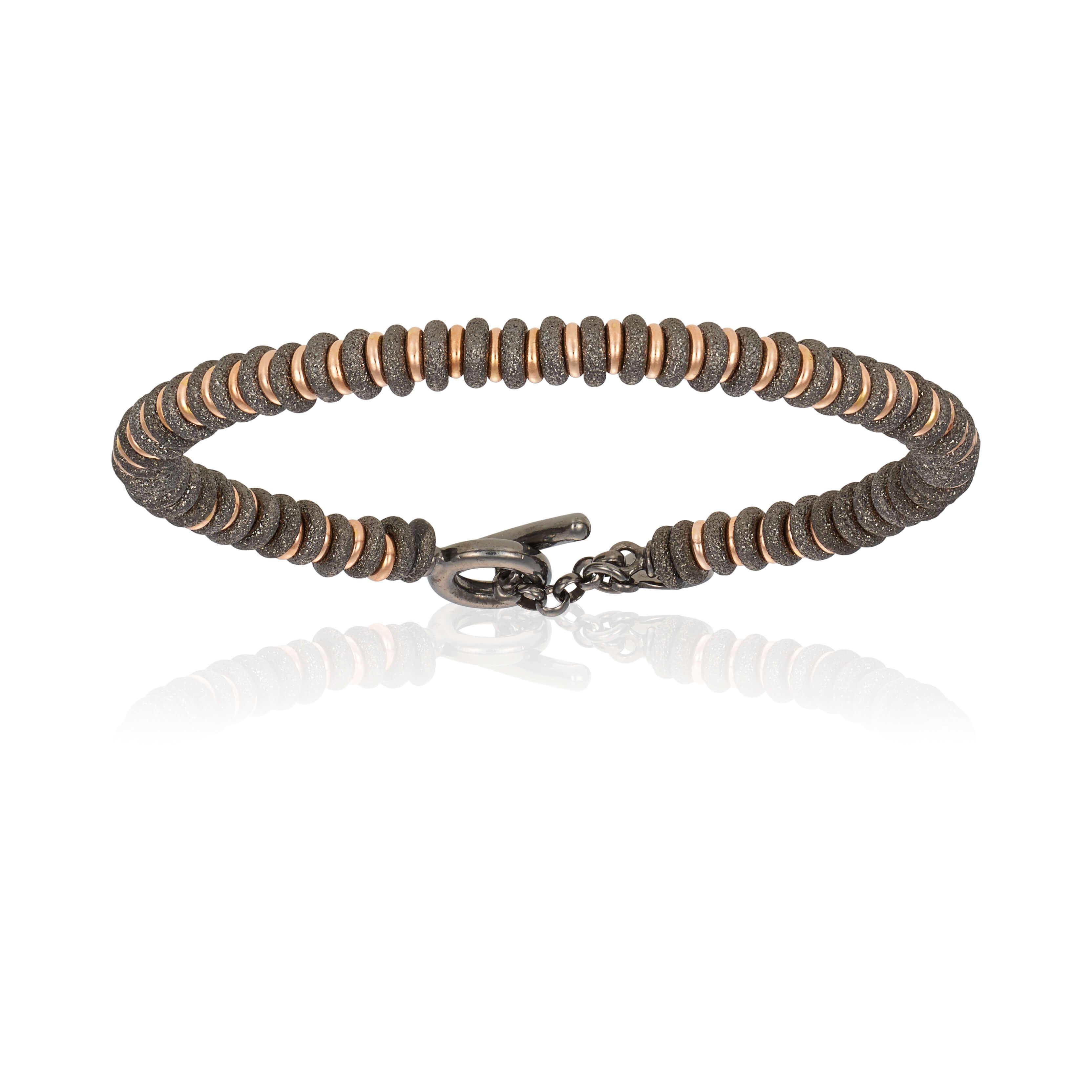 Black PVD bracelet with rose gold beads (Unisex)