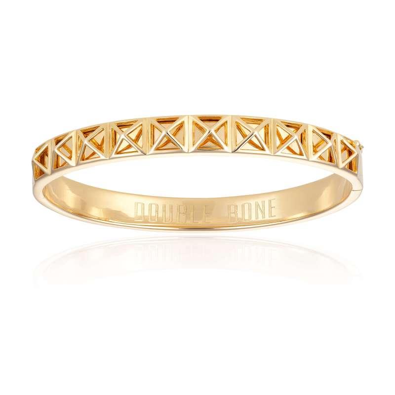 Yellow Gold Skeleton Stud Bangle bracelet (Unisex)