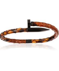 Brown python bracelet with PVD black nail for man