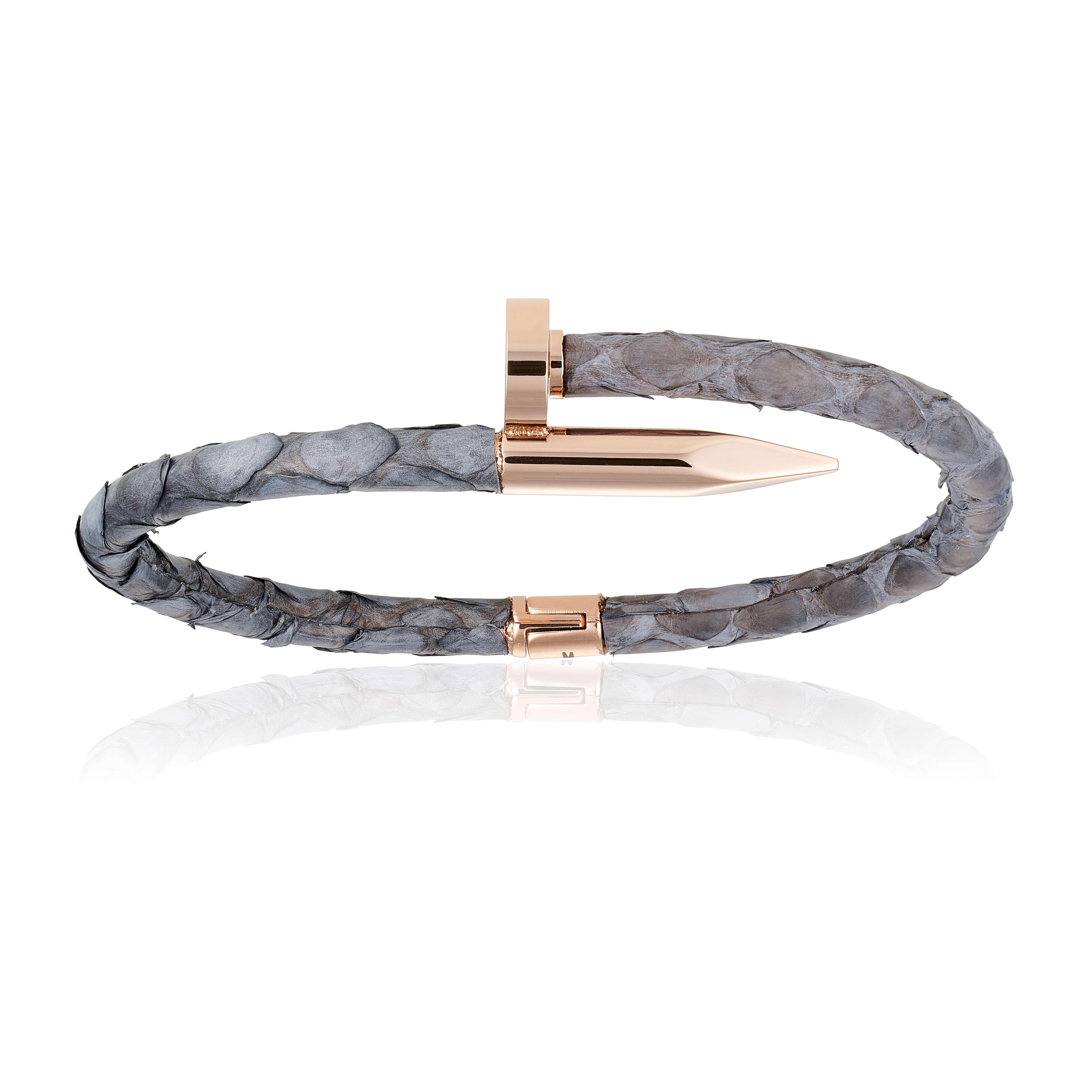 Gray python bracelet with rose gold nail (Unisex)