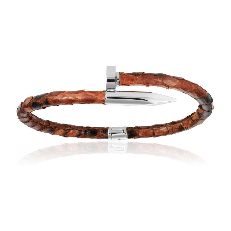 Brown python bracelet with silver nail (Unisex)