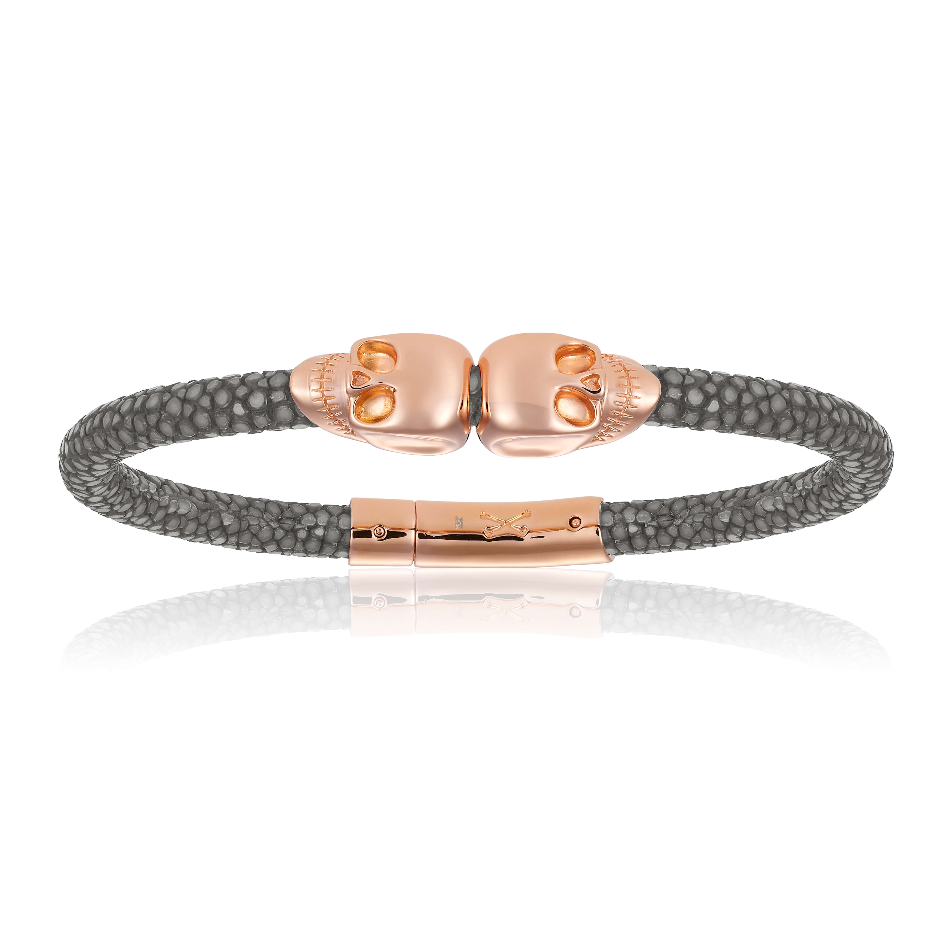 Gray stingray bracelet with pink gold skull (Unisex)