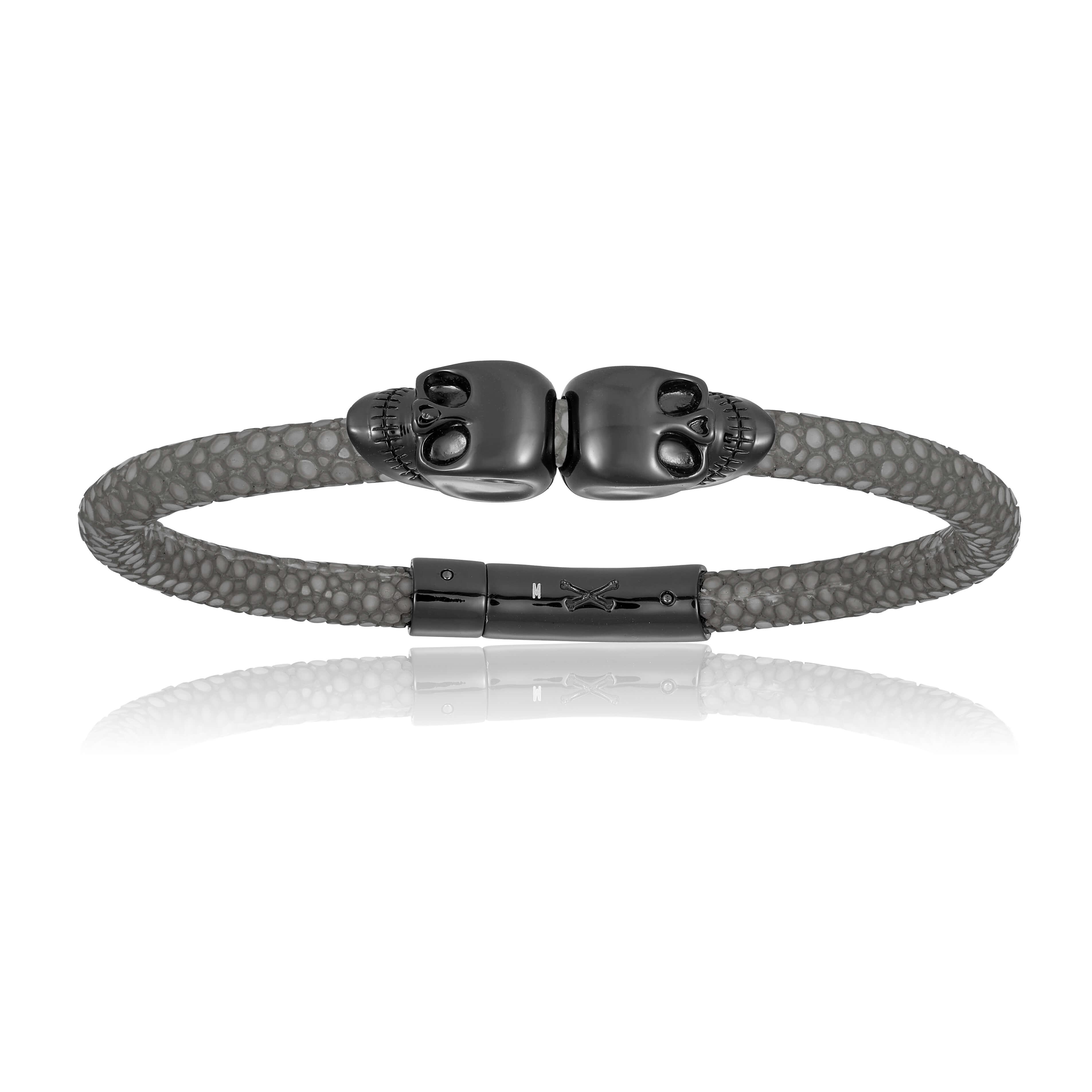 Gray stingray bracelet with black skull (Unisex)