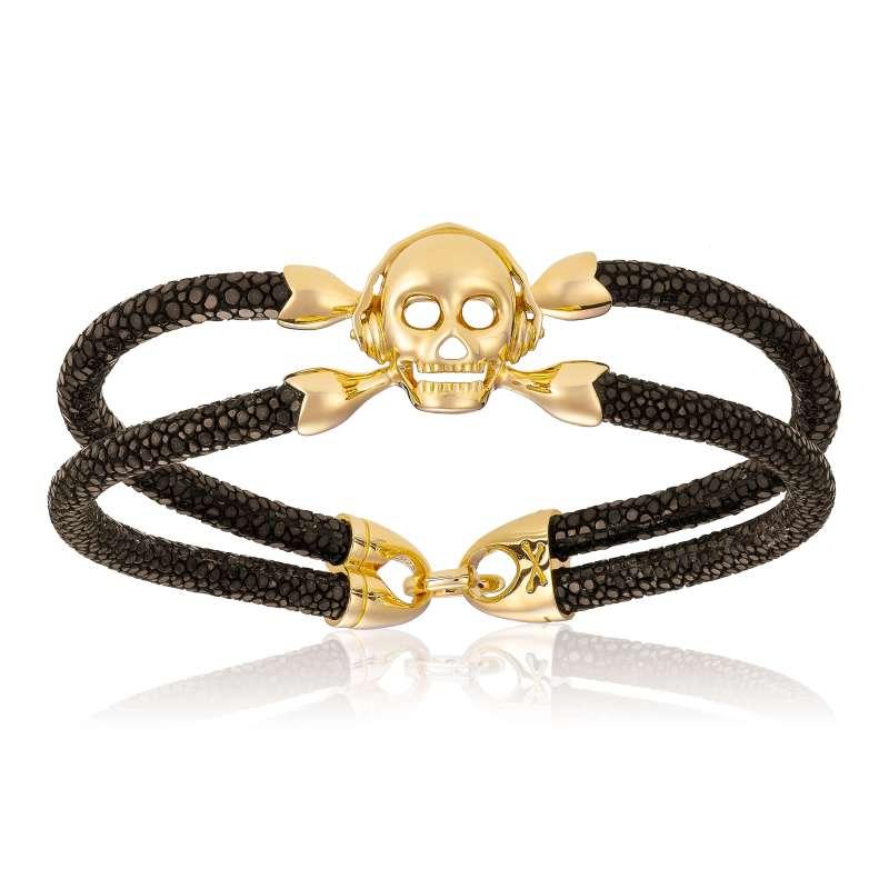 Brown stingray bracelet with yellow gold skull (Unisex)