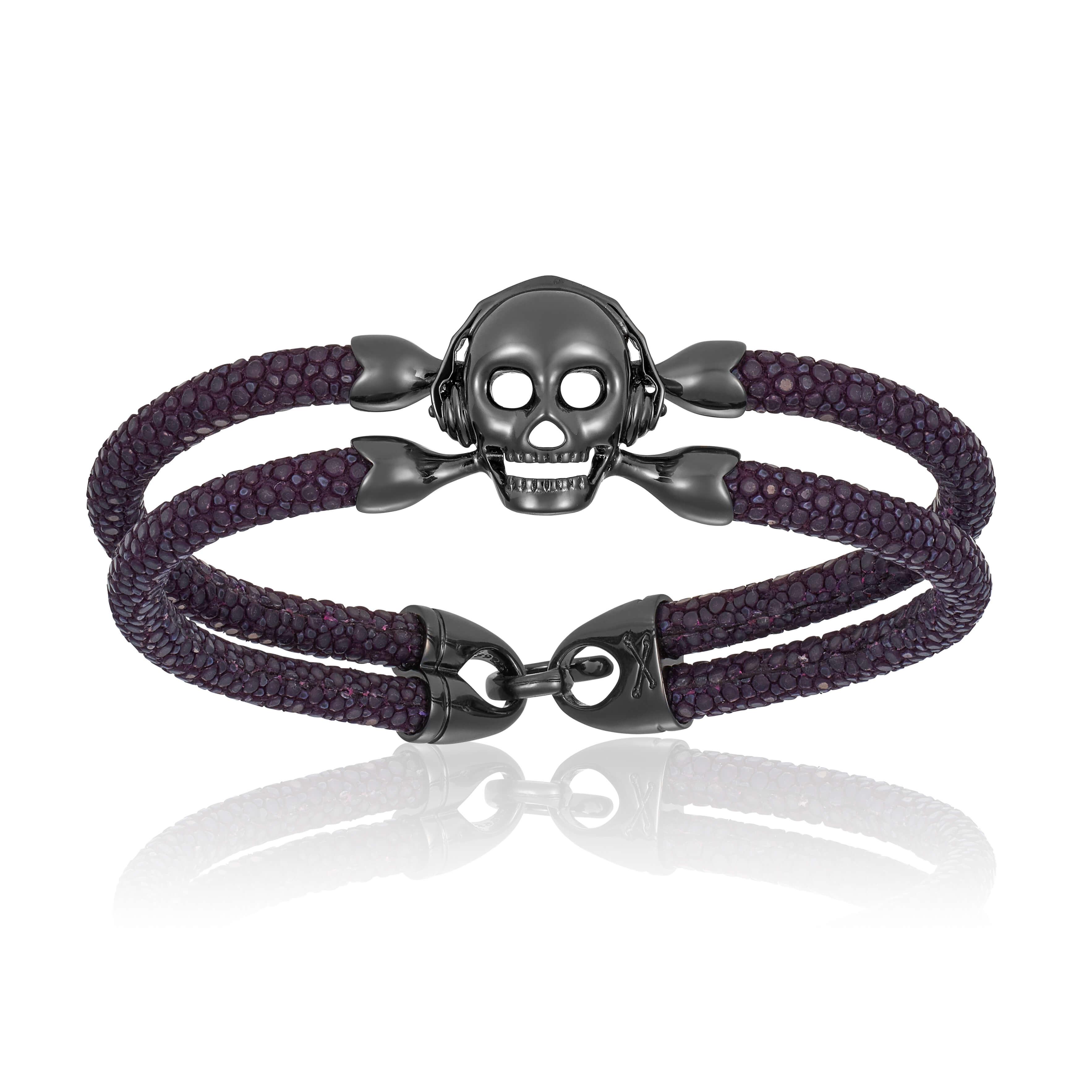 Purple stingray bracelet with black PVD skull (Unisex)