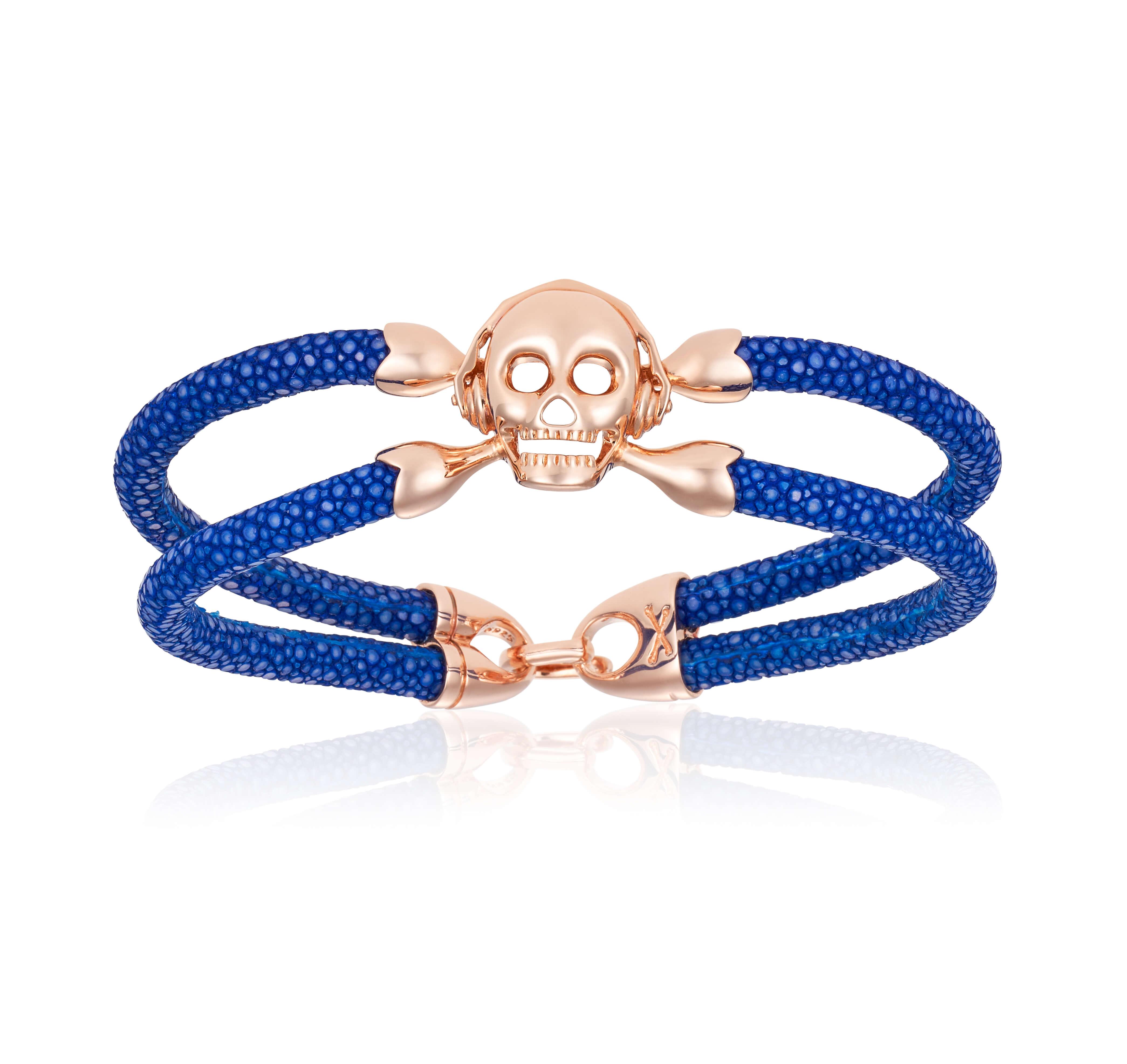 Blue stingray bracelet with rose gold skull (Unisex)