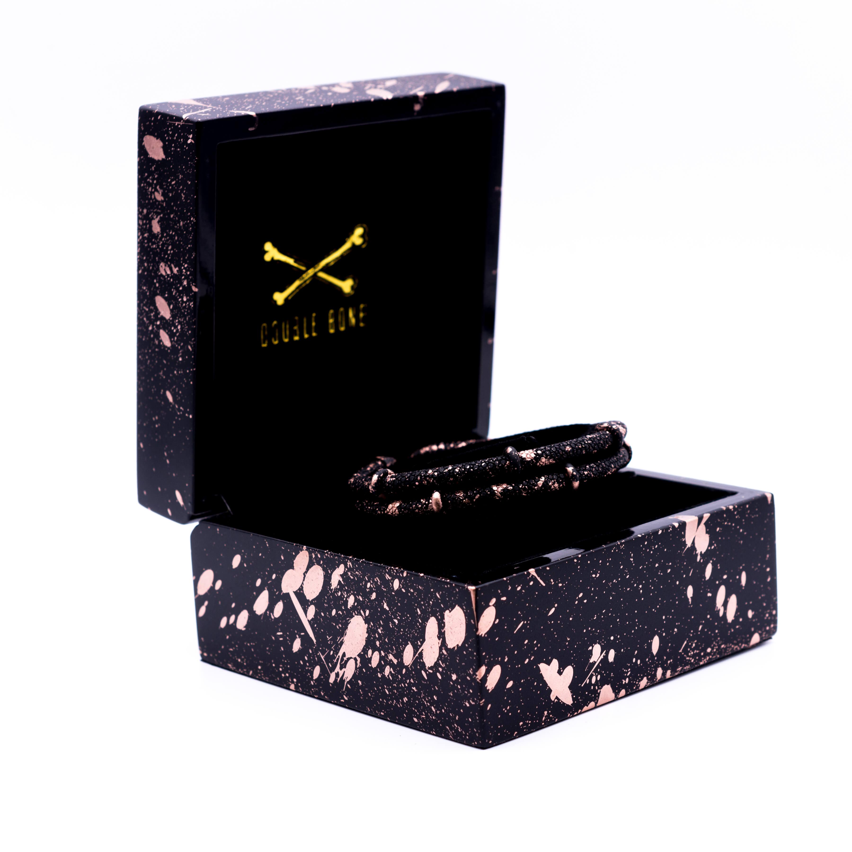 Black Matte Splashed Rose gold double stingray bracelet unisex