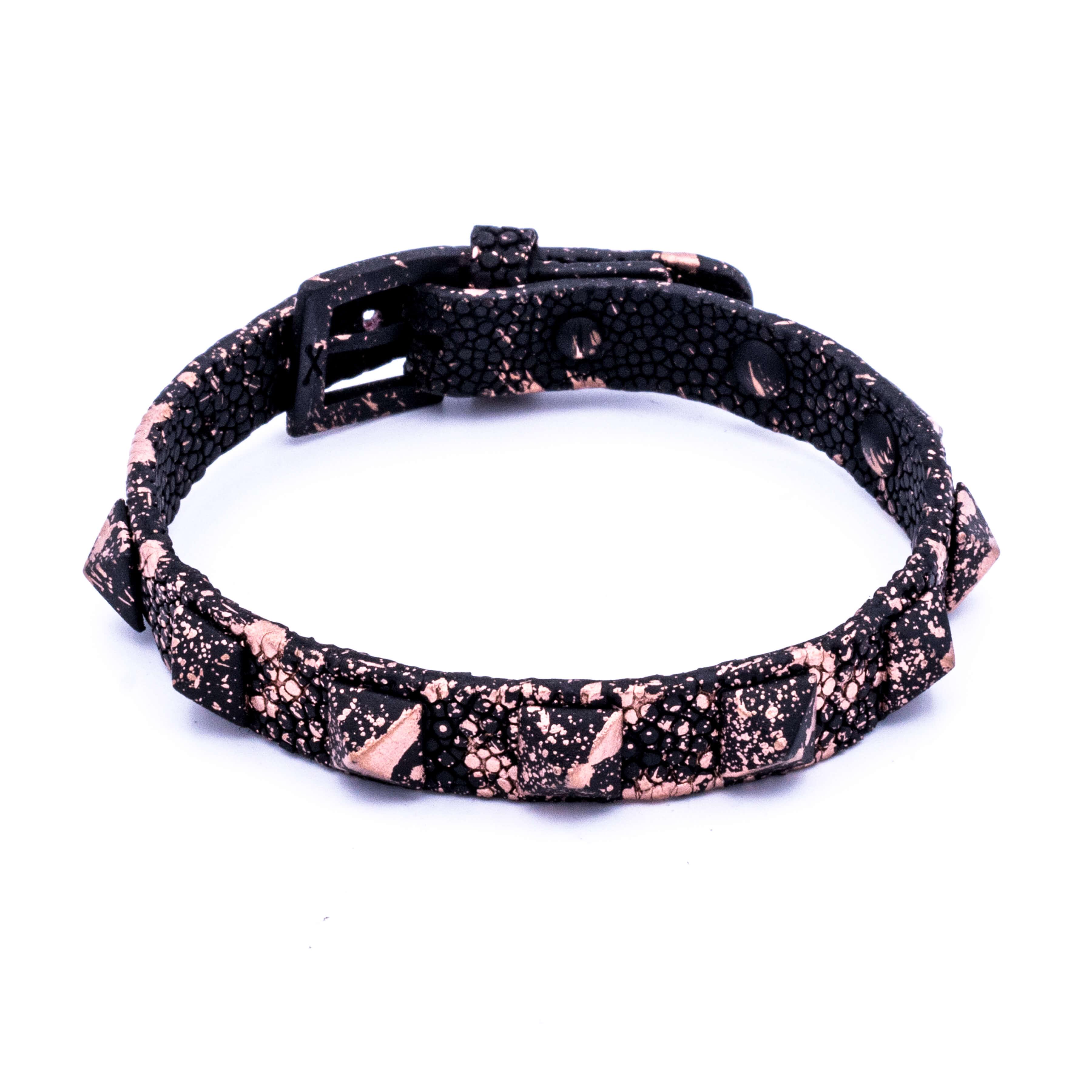 Black Matte Splashed Rose gold stingray bracelet studs unisex