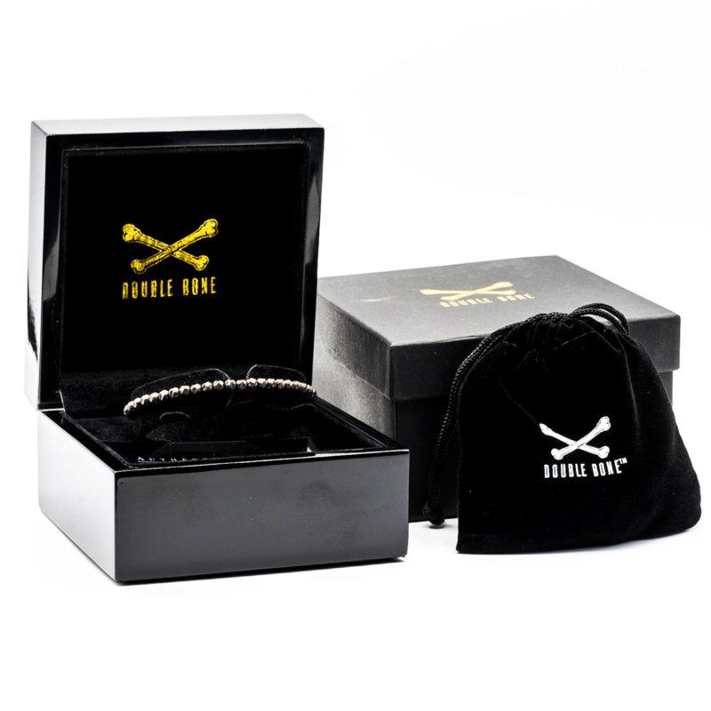 Black PVD ROCK bracelet with black beads (Unisex)