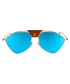 LETEC-LT-3G - Gold Frame - Blue Mirror Lenses + Brown Leather