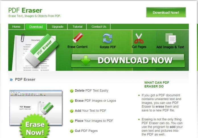 Truy cập vào trang web Pdf Eraser