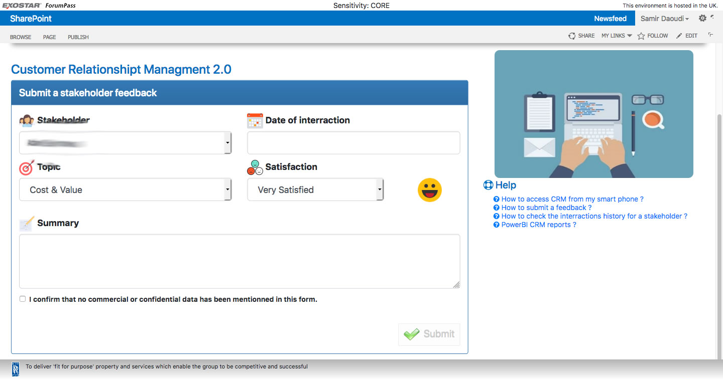 CRM Feed Back in SharePoint | Using BootStrap, SP JS